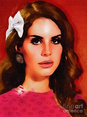 Lana Del Rey Portrait A Print by Andre Drauflos