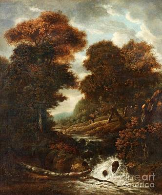 Landscape With Figures And Waterfall. Print by Jacob Van Ruisdae