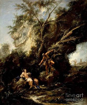 Christ Painting -  Landscape With The Temptation Of Christ by Celestial Images