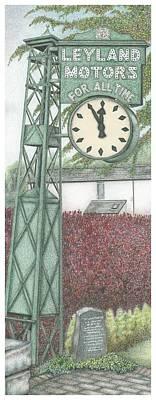 Bushes Drawing -  Leyland Motors Clock Kendal Cumbria by Sandra Moore