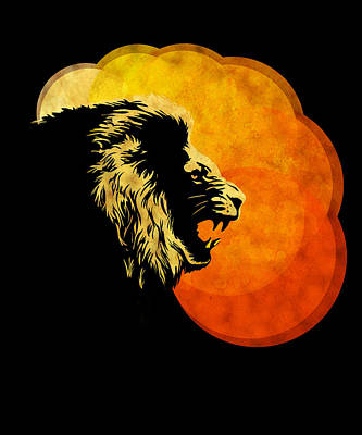 Digital Painting -  Lion Illustration Print Silhouette Print Night Predator by Sassan Filsoof