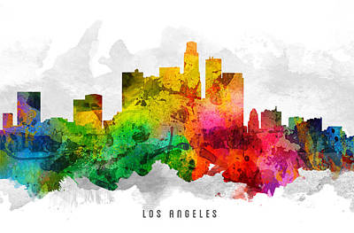 Los Angeles Skyline Digital Art -  Los Angeles California Cityscape 12 by Aged Pixel