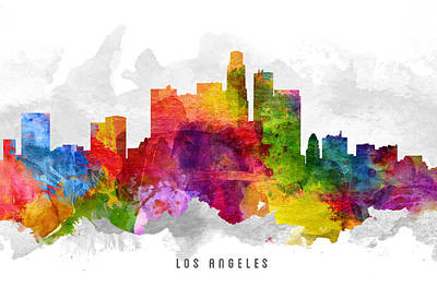 Los Angeles Skyline Digital Art -  Los Angeles California Cityscape 13 by Aged Pixel