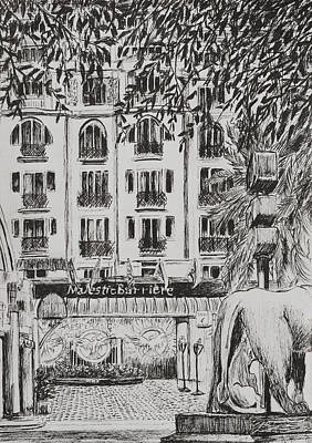 Pen And Ink Tree Drawing -  Majestic  Cannes by Vincent Alexander Booth