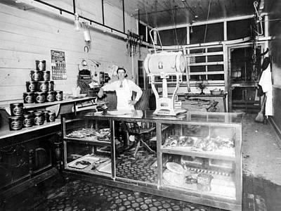 Man Male In Butcher Shop 1913 Black White 1910s Print by Mark Goebel