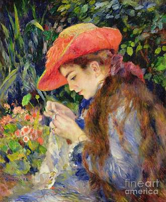 Red Hat Painting -  Marie Therese Durand Ruel Sewing by Pierre Auguste Renoir