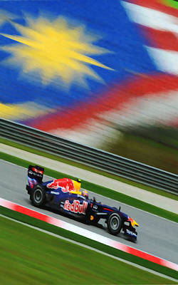 Mark Webber Of Red Bull F1 Team Racing Print by Lanjee Chee