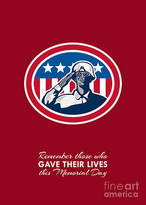 Memorial Day Greeting Card African American Soldier Salute Flag Print by Aloysius Patrimonio