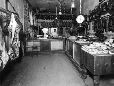 Men Males In Butcher Shop 1910 Black White 1910s Print by Mark Goebel