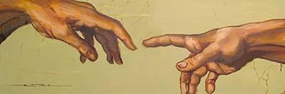 Michelangelos Creation Of Adam 1510 Print by Eric Dee