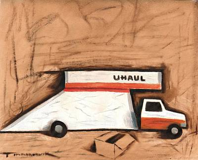 Truck Painting - Abstract Moving Truck Art Print by Tommervik