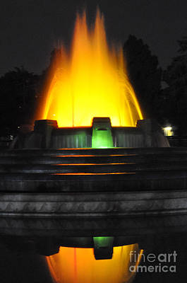 Mulholland Fountain Reflection Print by Clayton Bruster