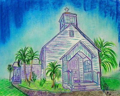 Key West Painting -  Ocean Ave. Chapel by W Gilroy