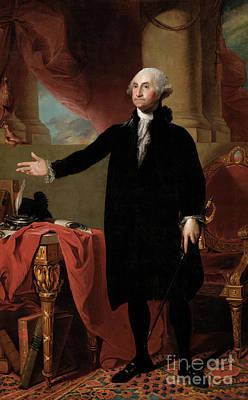 Desk Painting -  Portrait Of George Washington by Gilbert Stuart
