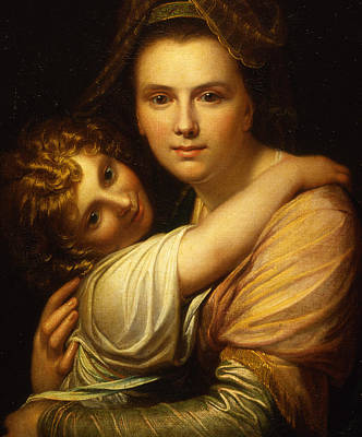 Portrait Of The Artists Wife And Daughter  Print by Richard Cosway