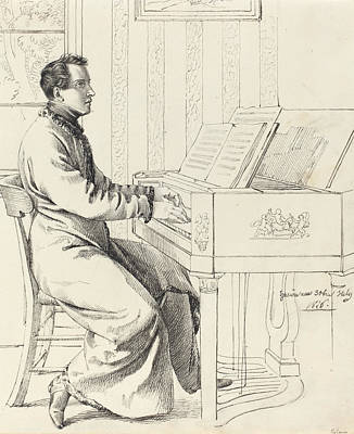 Young Man Drawing -  Preparing To Play The Piano by Ludwig Emil Grimm