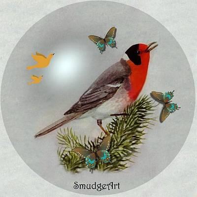 Warbler Digital Art -  Red Faced Warbler by Madeline  Allen - SmudgeArt