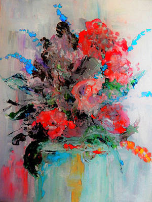 Impressionism Painting -  Red Rose Arrangement by Lisa Kaiser