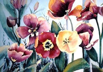Maryann Painting -  Red Tulips by Maryann Schigur