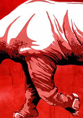 Rhino Painting -  Rhino Animal Decorative Red Poster 6 -  By Nostalgic Art by Diana Van