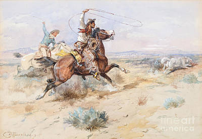 Roping Horse Painting -  Roping A White Wolf  by Charles M Russell