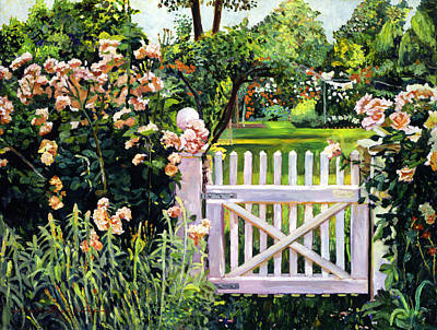 Garden Gates Painting -  Roses At The Garden Gate by David Lloyd Glover