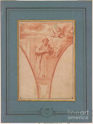 Giovanni Francesco Barbieri Painting -  Saint At Prayer by Giovanni Francesco