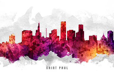 Minnesota Digital Art -  Saint Paul Minnesota Cityscape 14 by Aged Pixel