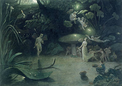 Mushrooms Painting -  Scene From 'a Midsummer Night's Dream by Francis Danby