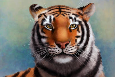 Cat Digital Art -  Siberian Tiger by Angela Murdock
