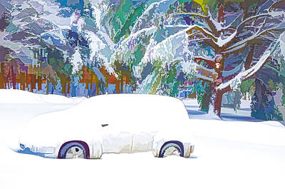 Park Painting -  Snow Covered Trees And Cars by Lanjee Chee