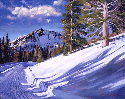 Fir Trees Painting -  Snowy Mountain Road by David Lloyd Glover