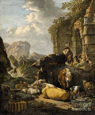 Landscape Painting -  Southern Landscape With Herdsmen And Cattle by Celestial Images