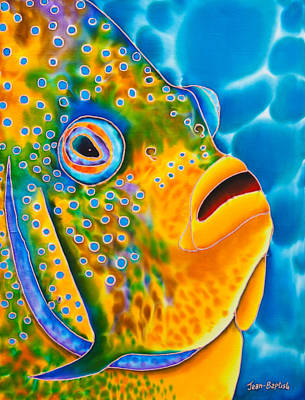 Reef Fish Painting -  Spotted Angelfish by Daniel Jean-Baptiste
