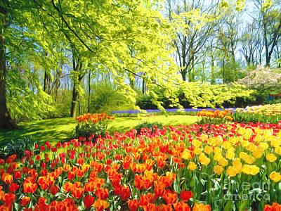 Many Colors Painting -  Spring Garden by Veikko Suikkanen