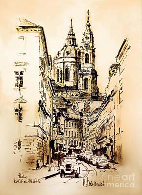 St. Nicholas Church In Prague Print by Melanie D