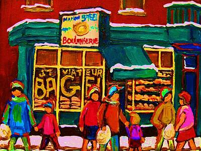 Store Fronts Painting -  St. Viateur Bagel Family Bakery by Carole Spandau