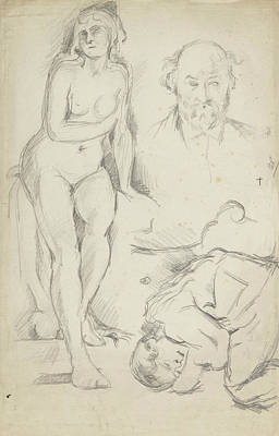 Self Drawing -  Studies Of Three Figures Including A Self-portrait  by Paul Cezanne