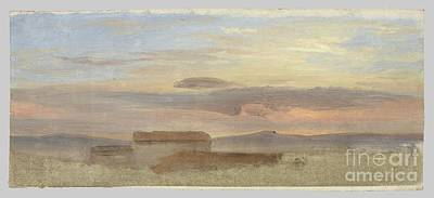 1890 Houses Painting -  Study Of Clouds by Friedrich Loos