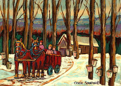 Kids Playing Hockey Painting -  Sugar Shack by Carole Spandau