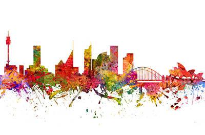 Sydney Skyline Drawing -  Sydney Australia Cityscape 08 by Aged Pixel