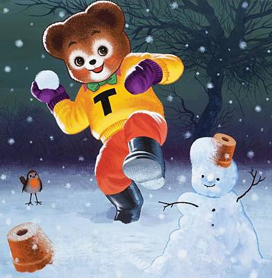 Teddy Bear Throwing Snowballs Print by William Francis Phillipps
