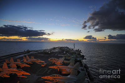Navy Painting -  The Aircraft Carrier Uss Nimitz by Celestial Images