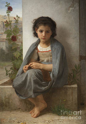 William-adolphe 1825-1905 Painting -  The Little Knitter by MotionAge Designs