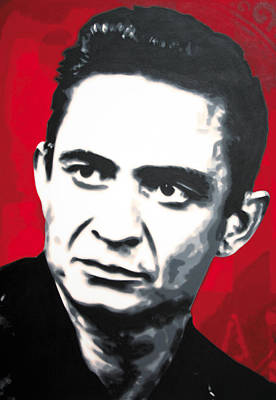 Johnny Cash Painting - - The Man In Black - by Luis Ludzska