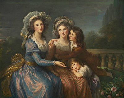 The Marquise De Pezay, And The Marquise De Rouge With Her Sons Print by Louise Elisabeth Vigee Le Brun