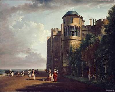 1730 Painting -  The North Terrace At Windsor Castle Looking East by Paul Sandby