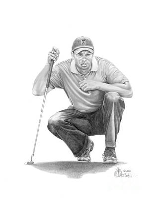 Figure Drawing Drawing -  Tiger Woods Crouching Tiger by Murphy Elliott