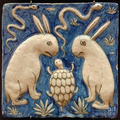 Tile Painting -  Two Rabbits, Two Snakes And A Tortoise by Celestial Images