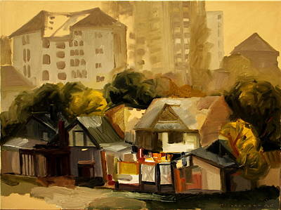 Urban Nature Study Painting -  Urban Landscape by Ion Mihalache